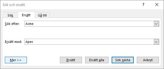 Dialogrutan Sök och ersätt i Outlook.