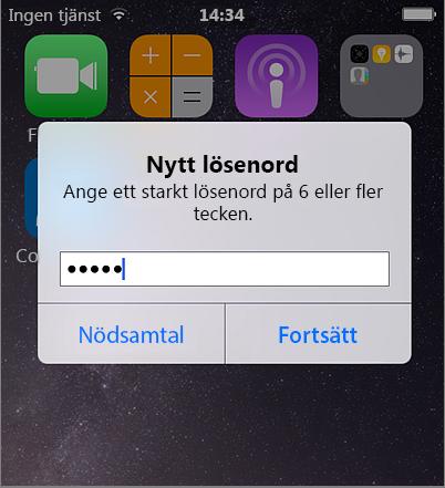 Skapa mobillösenord iPhone
