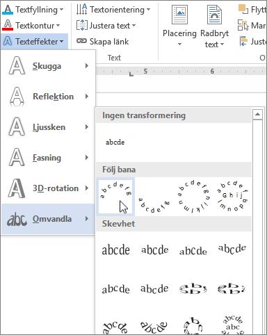 Välja en böjd transformeringseffekt för text