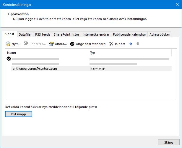 Dialog rutan inställningar för Outlook-konto