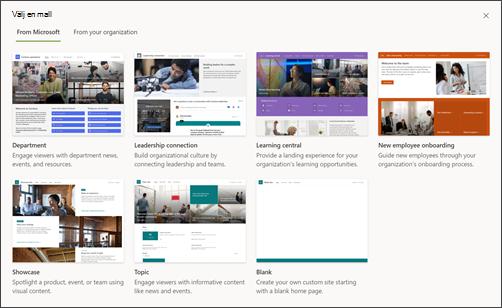 Bild av den SharePoint webbplatsmallväljaren