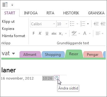Du kan ändra den tid då sidan skapades i OneNote.