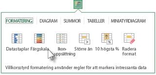 Fliken Formatering i galleriet Snabbanalys