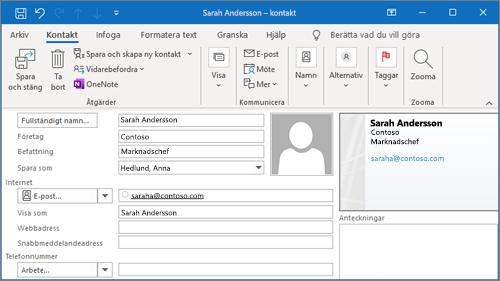 Lägga till en kontakt i Outlook