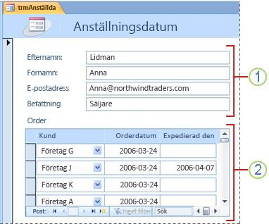 Ett formulär som innehåller ett underformulär