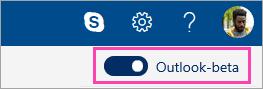 En skärmbild av Outlook beta växlingsknappen