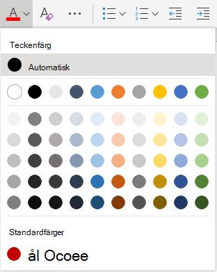 Menyn teckensnitt färg i Word Online