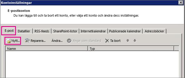 Skärmbild av fliken E-post i dialogrutan Kontoinställningar.