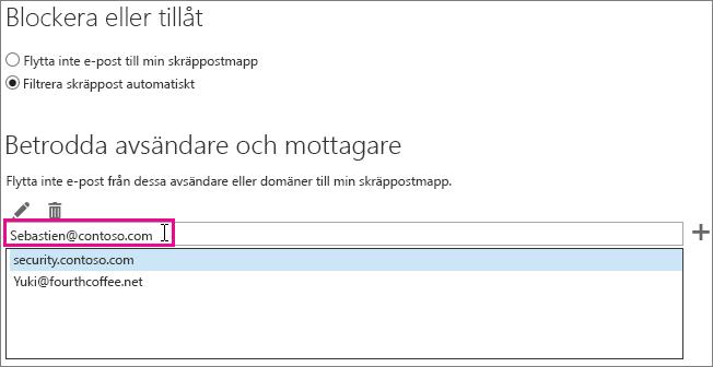 Lägga till en säker avsändare i Outlook Web App