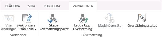 Skärmbild av fliken Varianter från målwebbplatsen, med två grupper: Varianter och Översättning