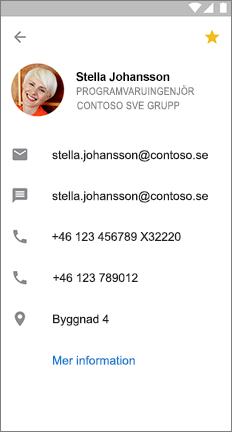 Profil kort med en gul stjärna för att visa att kontakten är en favorit