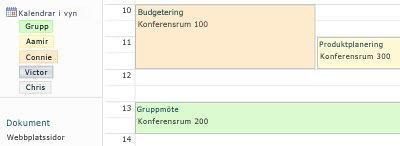 Gruppkalender med resurser