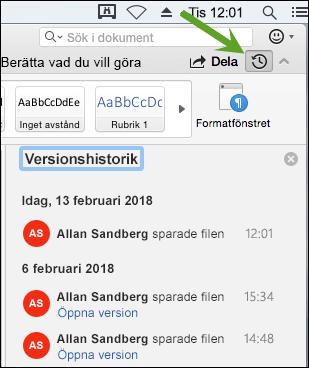 Knappen Versionshistorik öppnar rutan Versionshistorik där du kan välja tidigare versioner av dokumentet