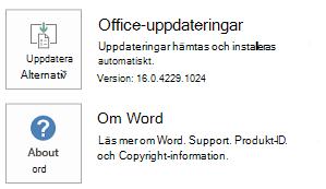 När Office har installerats med hjälp av Klicka-och-kör-tekniken ser program- och uppdateringsinformation ut så här.