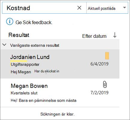 Använda sökning för att hitta din e-post i Outlook
