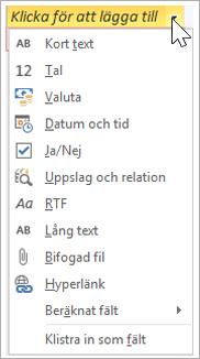 """Lägg till en ny tabellkolumn, av typen """"Uppslag och relation"""""""