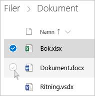 Skärmbild av hur du markerar en fil i OneDrive i listvyn