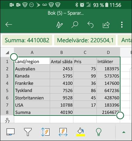 Excel har konverterat dina data och returnerar dem till rutnätet.