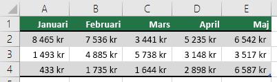 Använda en rad för tabellrubriker, t.ex. Januari, Februari, Mars osv.