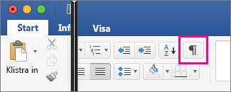 Visa redigeringsmarkeringar är markerat på fliken Start