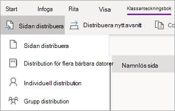 Knappen Distribuera sida med listrutan för åtgärder.