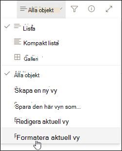 Formatera aktuell vy