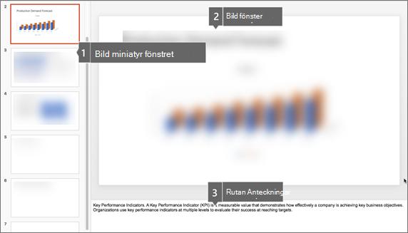 Miniatyrfönstret, bildfönstret och anteckningsrutan i PowerPoint för Mac