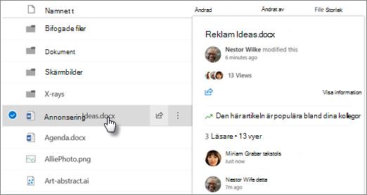 Skärm bild av det fil hov rings kort som visas när du pekar på en fil i OneDrive eller SharePoint