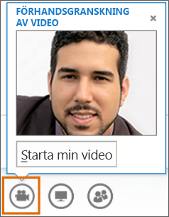 Skärmdump av Starta min video i ett möte med en videoförhandsgranskning
