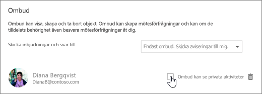 En skärmbild av kryssrutan Låt ombudet visa privata händelser.