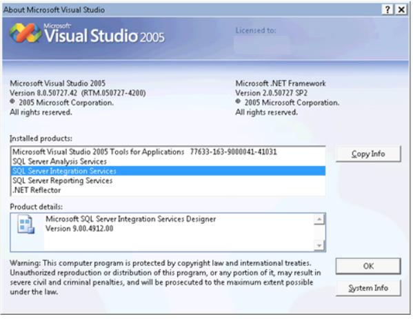 Bilden om SQL-version