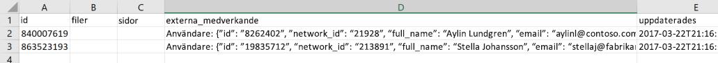Skärmbild av en exempel-exportera datafil