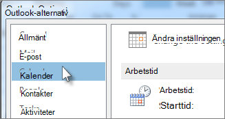 Klicka på Kalender i Outlook-alternativ.