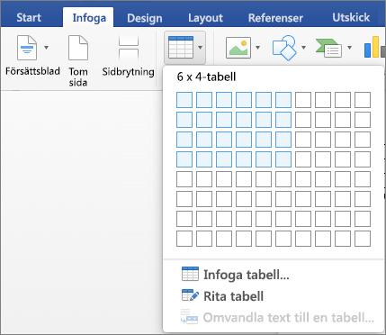 Markera numret eller rader och kolumner om du vill infoga en tabell snabbt