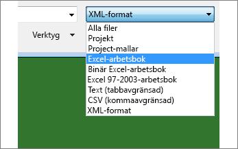 Välj vilken Excel-arbetsbok du vill öppna och hämta data från