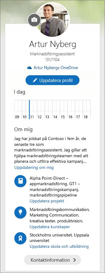 Skärmbild av standardinnehållet i området Om mig i menyformuläret för Delve.