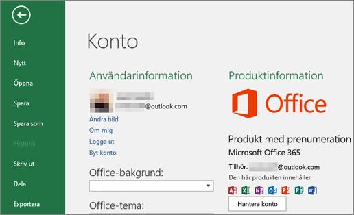 Microsoft-kontot som är kopplat till Office visas i fönstret Konto i ett Office-program