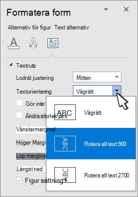 Text effekt panelen med text orientering markerad