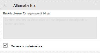 Alternativet Markera som dekorativt i dialog rutan alternativ text för PowerPoint för Windows Phone.