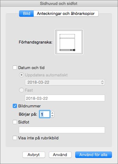 Visar dialogrutan Sidhuvud och sidfot i PowerPoint 2016 för Mac