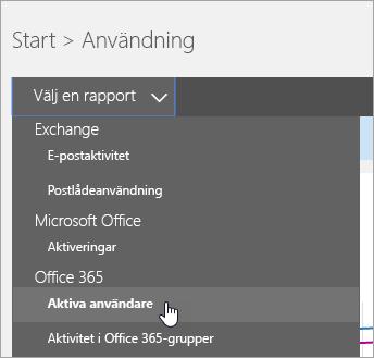 I listrutan Välj en rapport klickar du på Aktiva användare