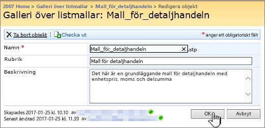 Dialogruta för att redigera listmall