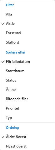 Välj hur du vill filtrera, sortera och ordna uppgifter i uppgiftslistan i Outlook.com