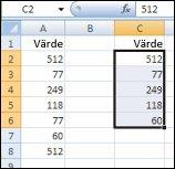 Unika värden från området i kolumn A