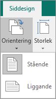 Fliken Sidlayout med Orientering valt och alternativen Stående och Liggande.
