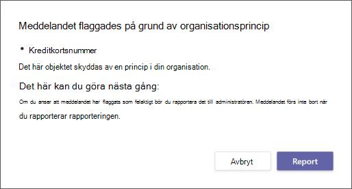 En dialogruta som förklarar varför ett meddelande flaggades av en organisations princip för dataförlustskydd