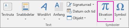 Ekvationsalternativet är markerat på fliken Infoga