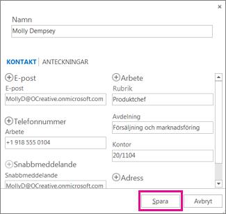 Lägga till en ny kontakt i Outlook från ett meddelande
