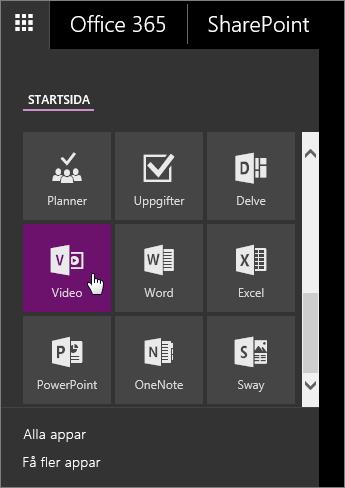 Skärmbild av appfönstret med Video-panelen aktiv.