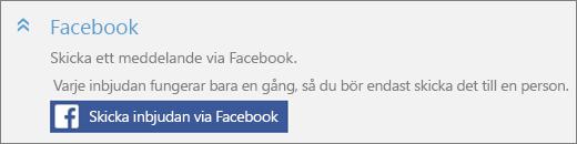"""Skärmbild på närbild av avsnittet """"Facebook"""" i dialogrutan """"Lägg till någon"""" med knappen """"Skicka inbjudan via Facebook""""."""